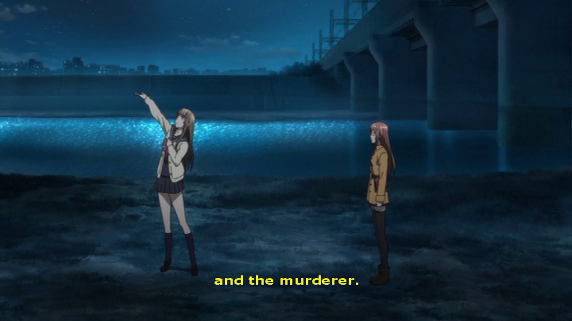 "An anime girl says ""and the murderer"""