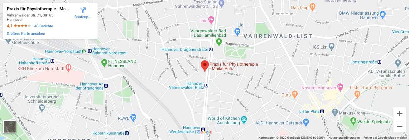 Anfahrt Physiotherapie Hannover