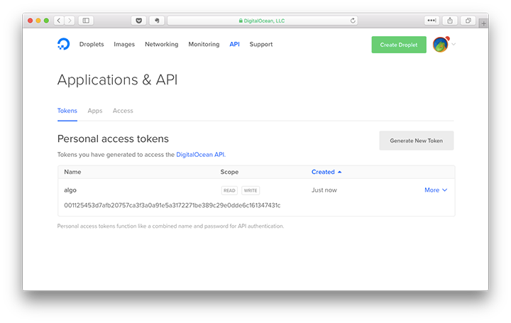 new api token for digitalocean