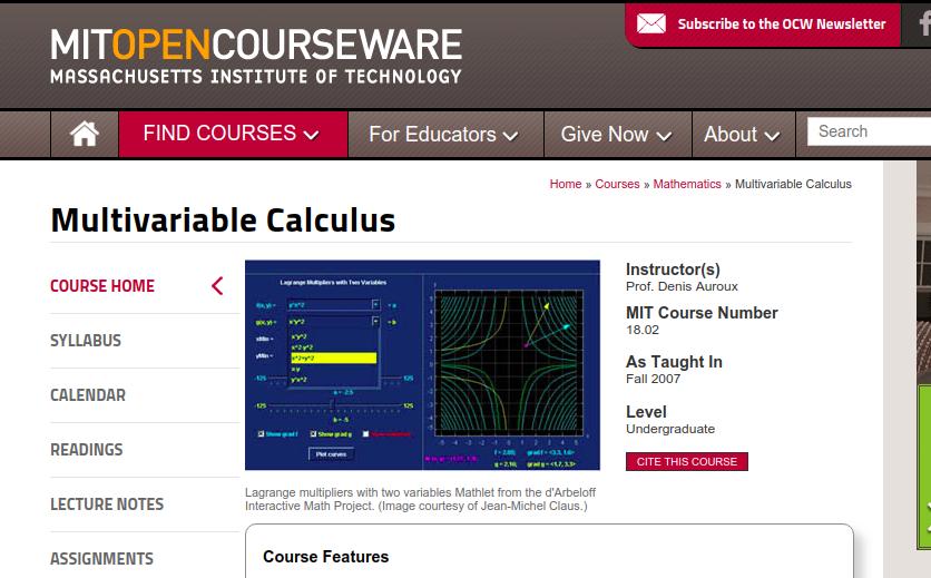 Multivariable calculus - MIT