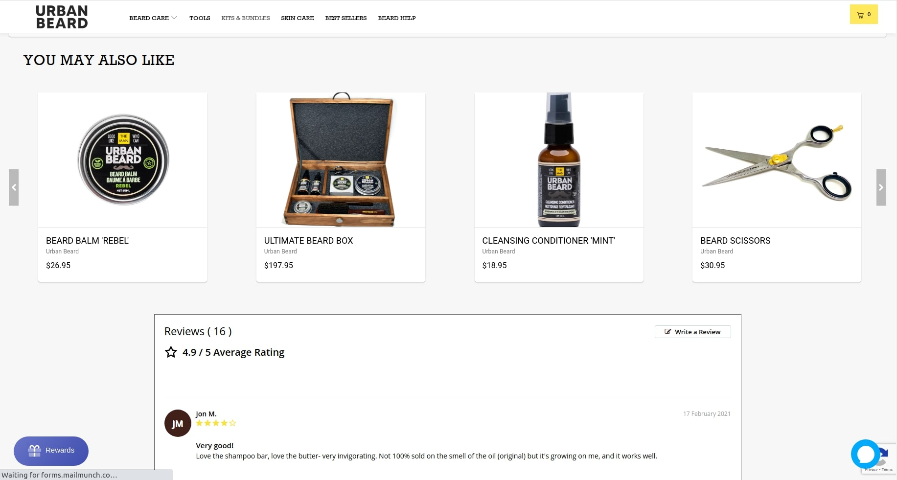 Home Page of Urban Beard Website