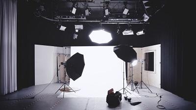 A brightly lit recording studio