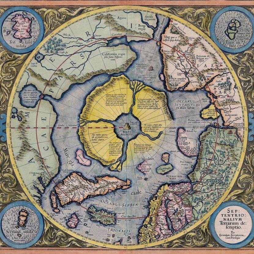 Карта Арктики Герарда Меркатора (1595). Источник: commons.wikimedia.org