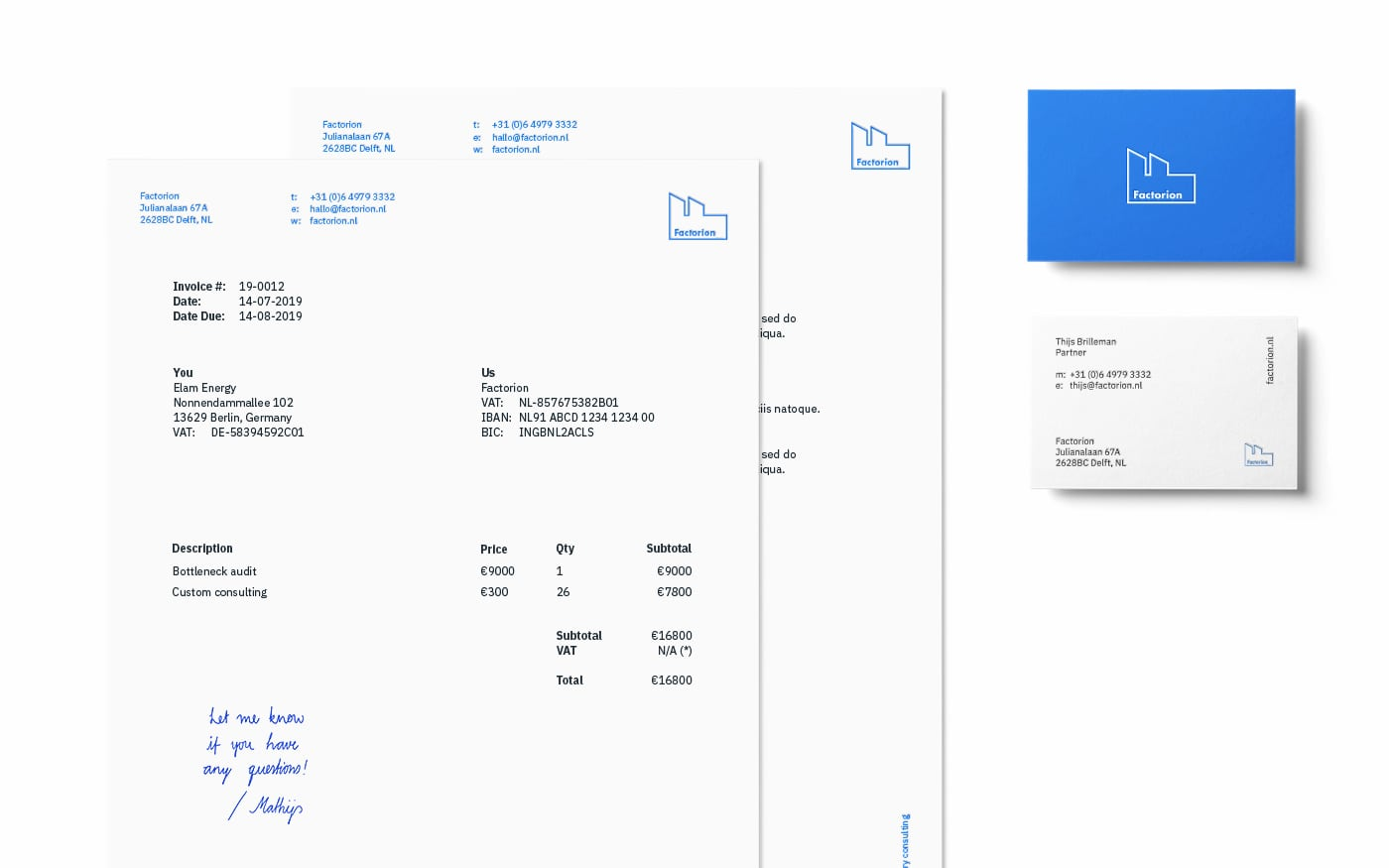 Factorion invoice, letterhead, and business card stationery design