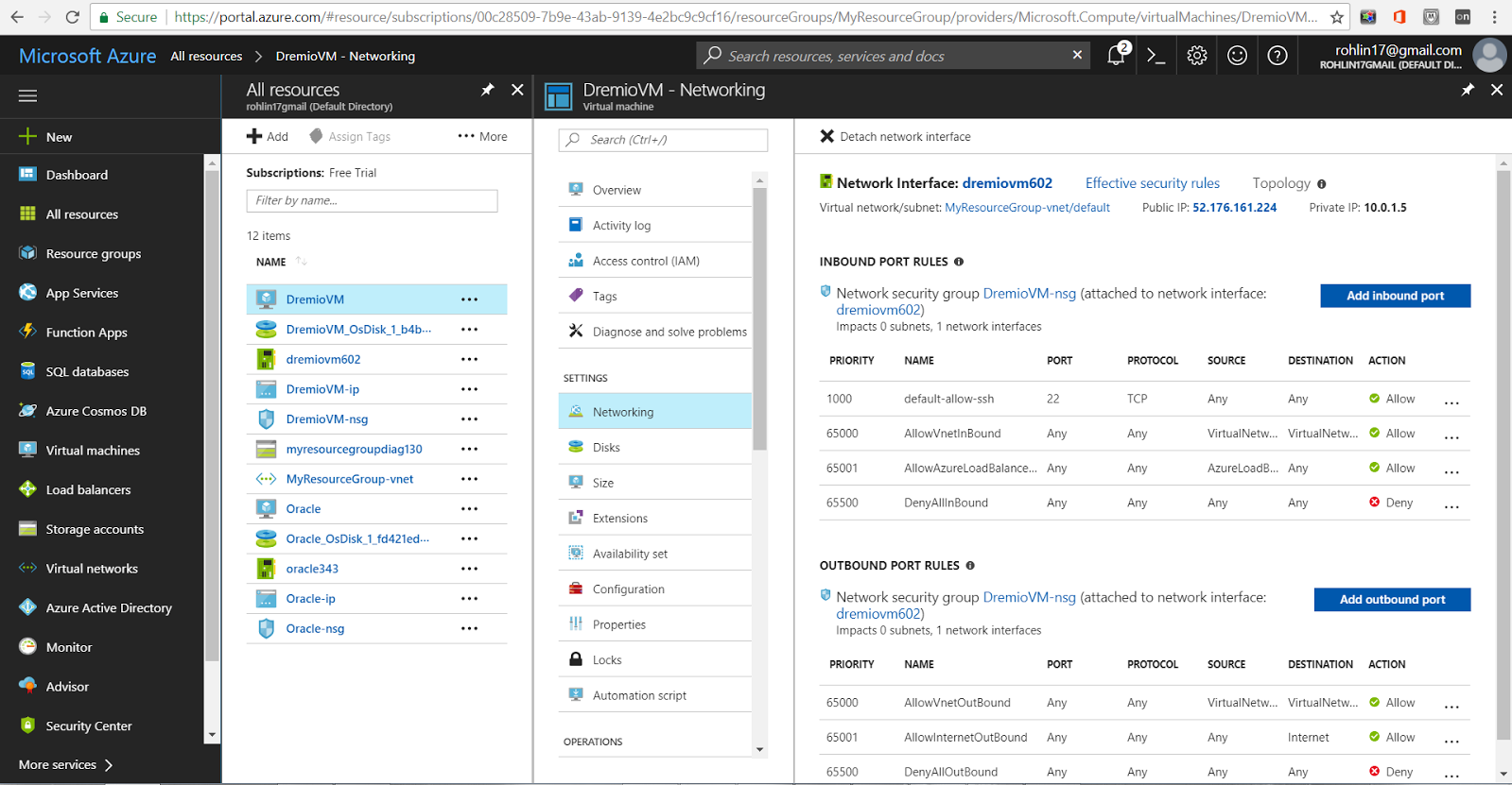 Configuring network on Azure