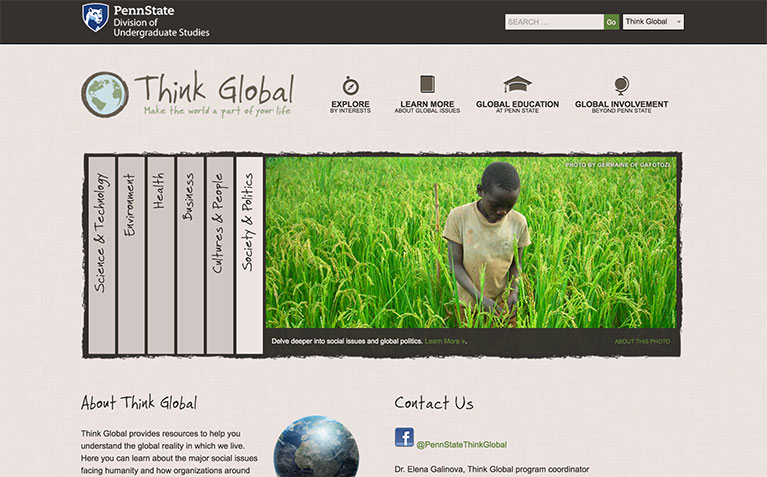 Think Global landing page