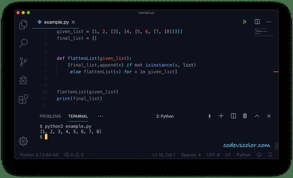 Python flatten list example2