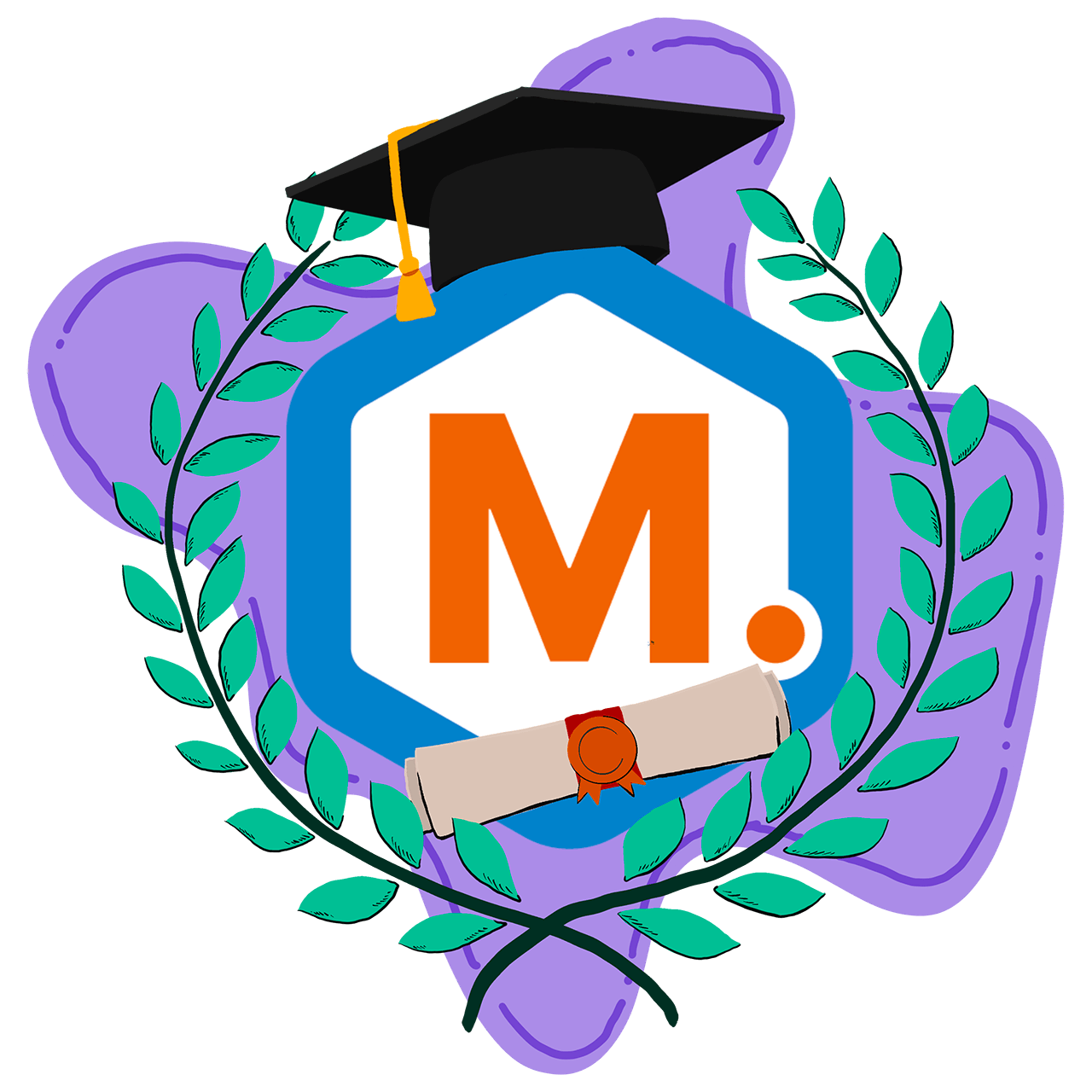 Graduation cap on M.academy