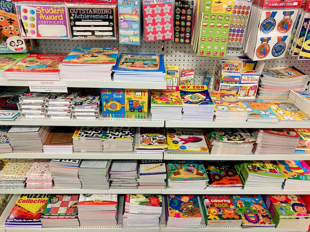 Picture books and activity books for children, as well as sudoku, crossword, word search, fill-ins, and other puzzle books.
