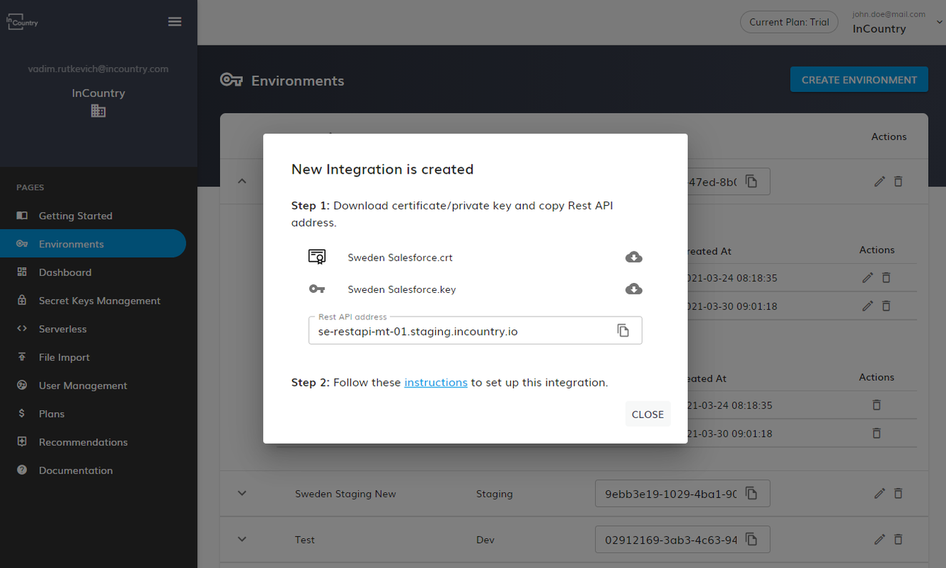 download the generated certificates