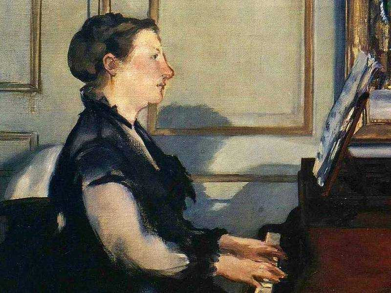 Manet painted a number of pictures of his wife, Suzanne, including this one of her playing the piano. The two met when Suzanne came to teach Manet and his brother how to play.