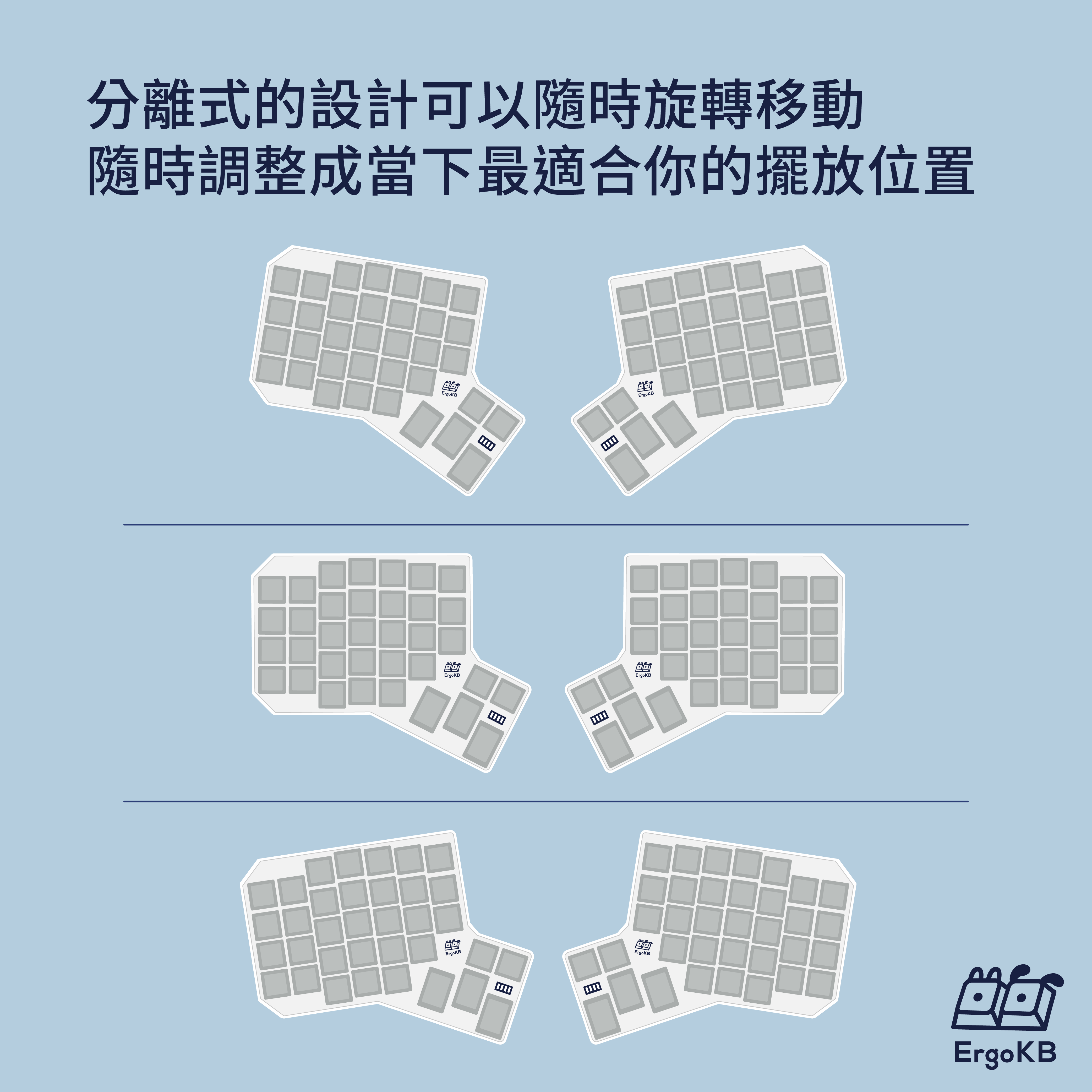 分離式的設計可以隨時旋轉移動,隨時調整成當下最適合你的擺放位置