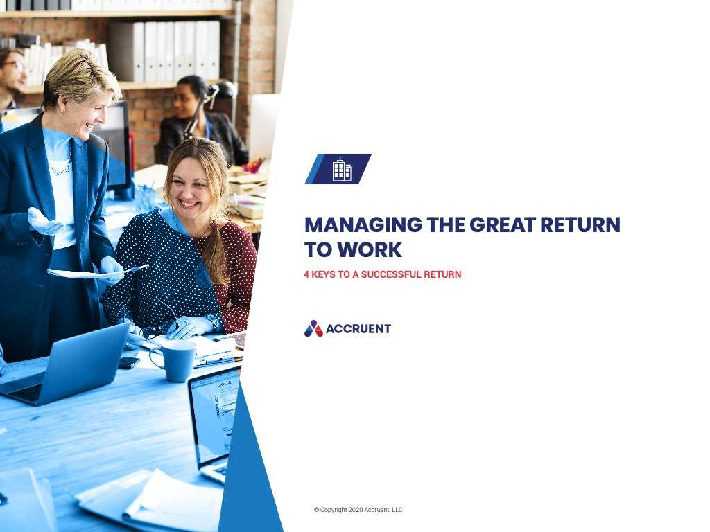 Accruent - Resources - eBooks - Managing the Great Return to Work - Cover Image