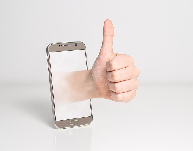 Thumbs up on a mobile phone