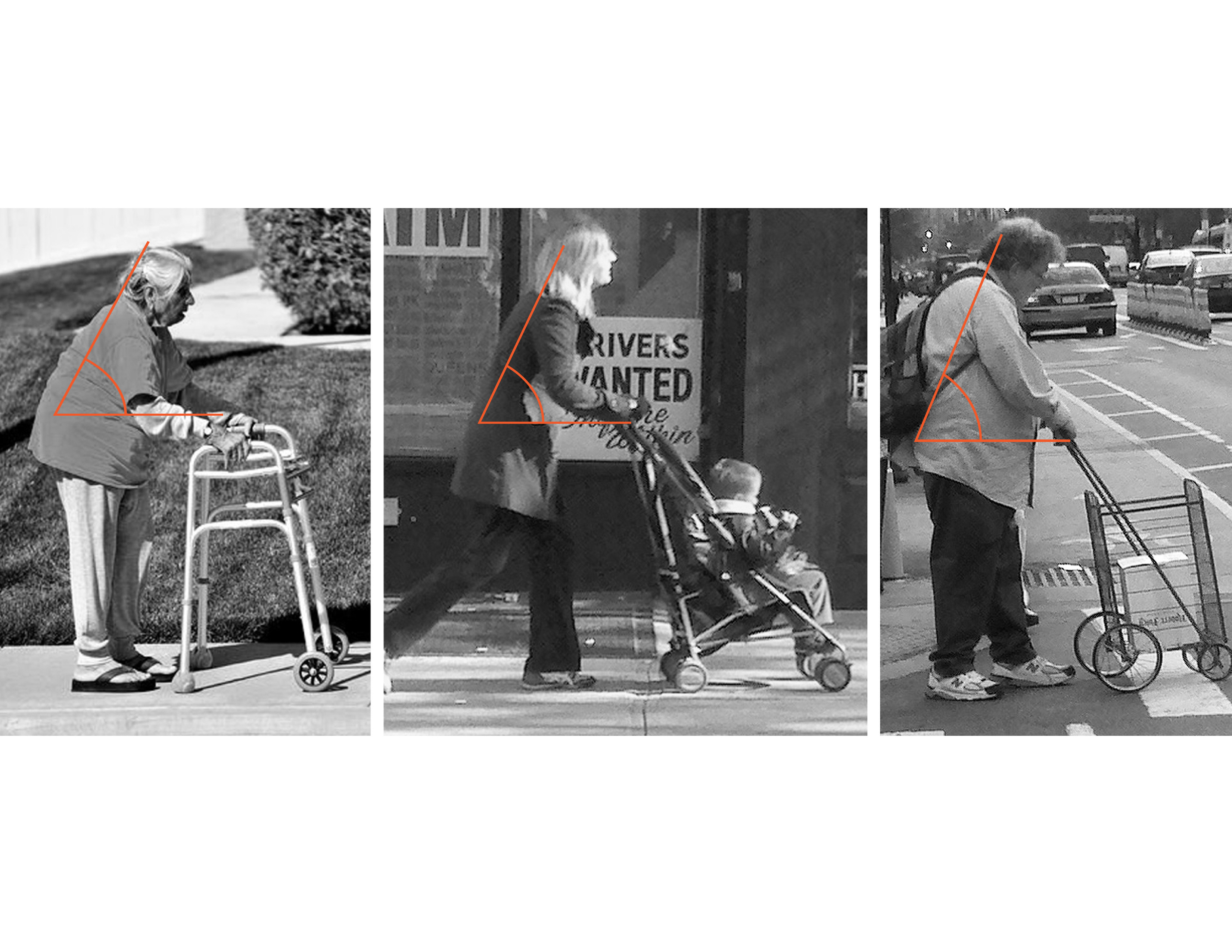 Three images show similar movements among gear-users in cities: a walker, a woman pushing a stroller, and a woman pushing a wire-frame grocery cart. All three must bend over their tools in a similar fashion.