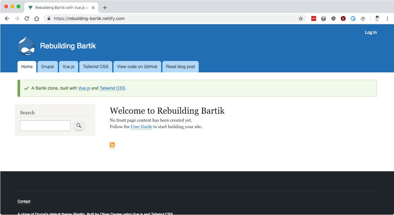 The Bartik clone with the Drupal Message component visible