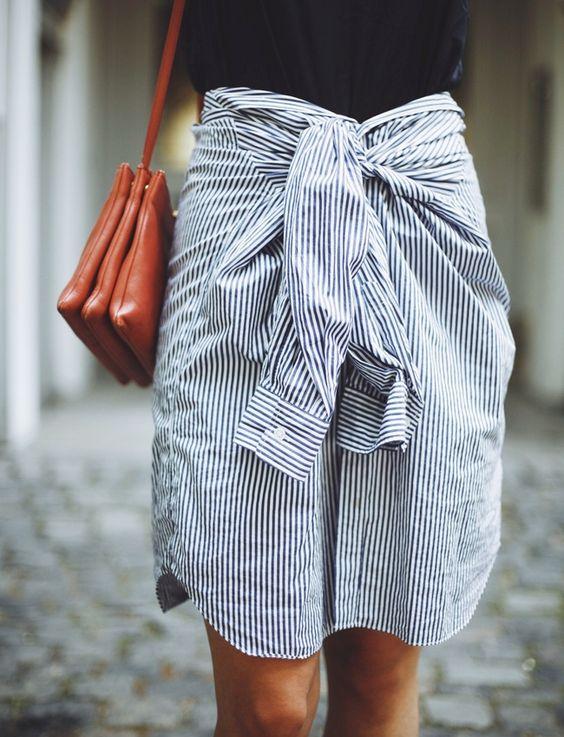 Chemise transformée en jupe