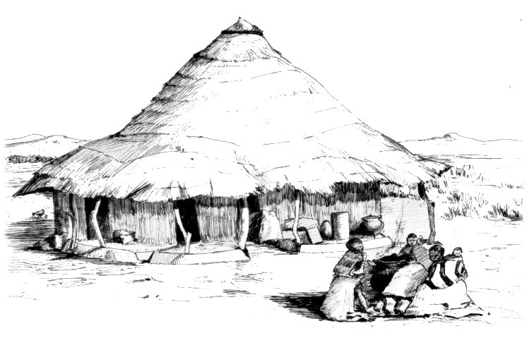 An African hut with people gathered about a fire in the foreground. - A. Sakyiama's Logo