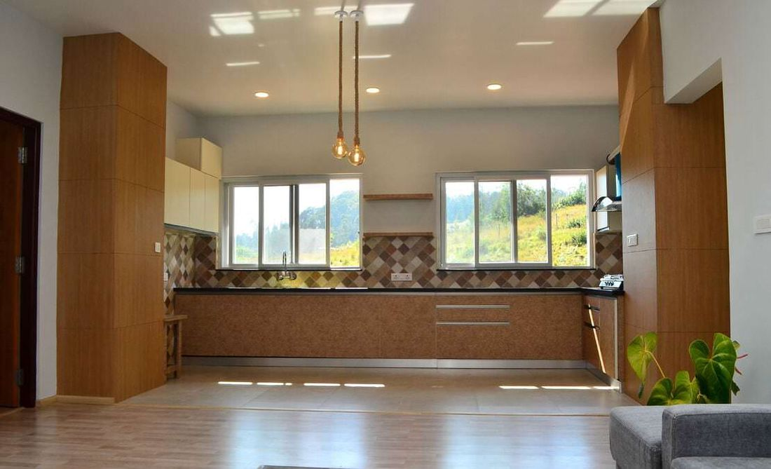 Open Kitchen with large glass looking into the garden