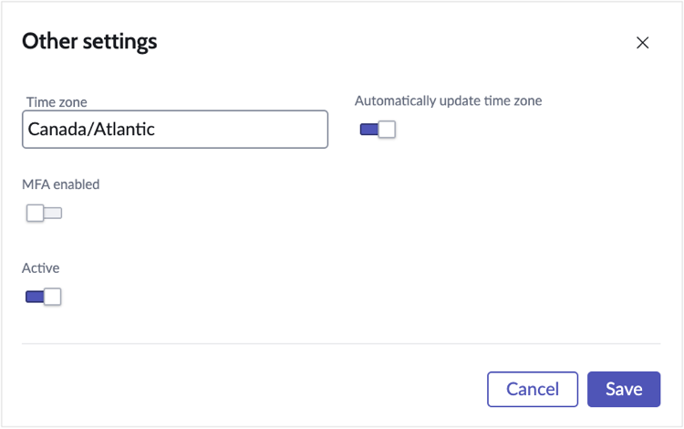The Other settings section.