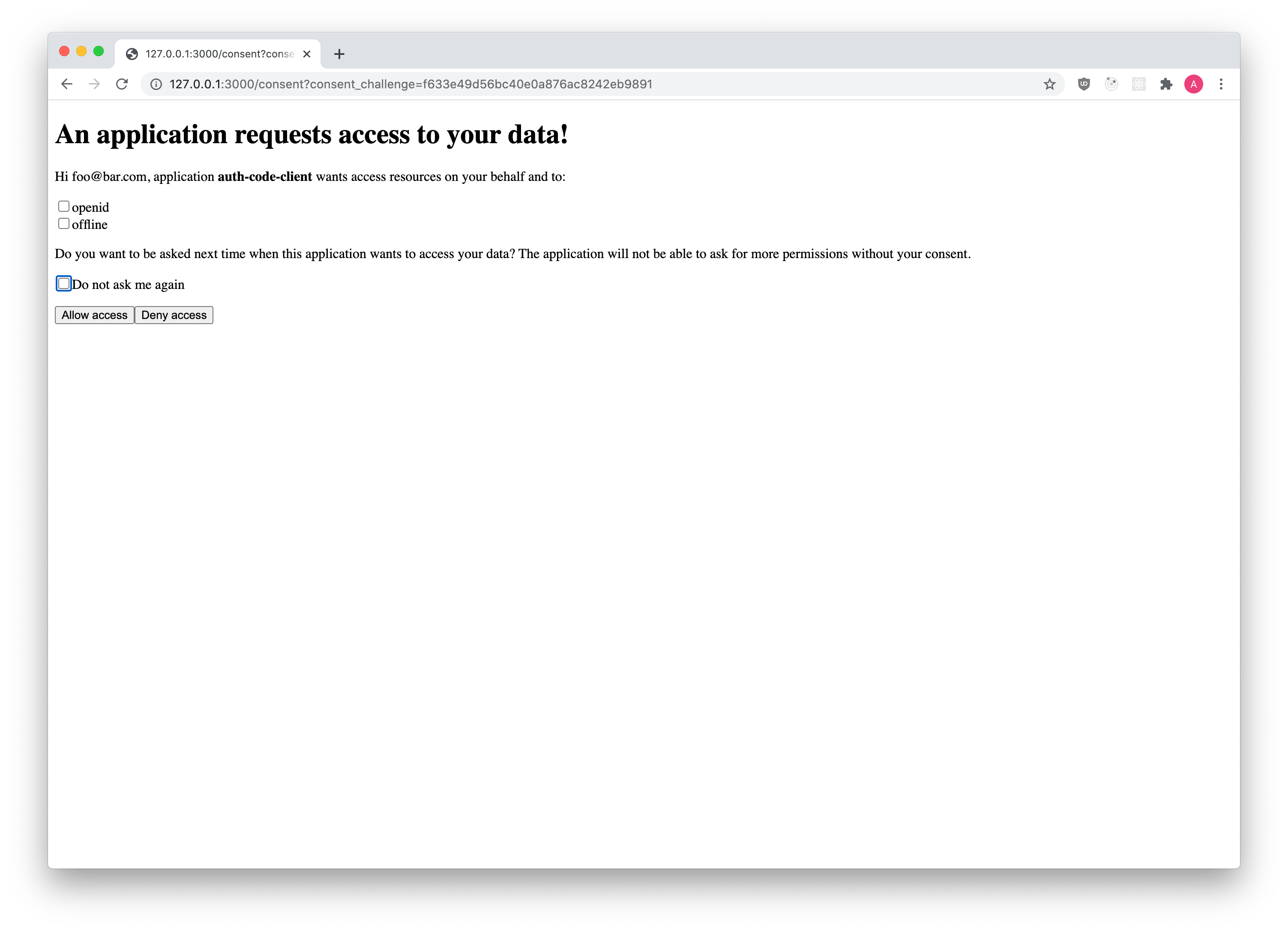 OAuth2 Consent UI Screen