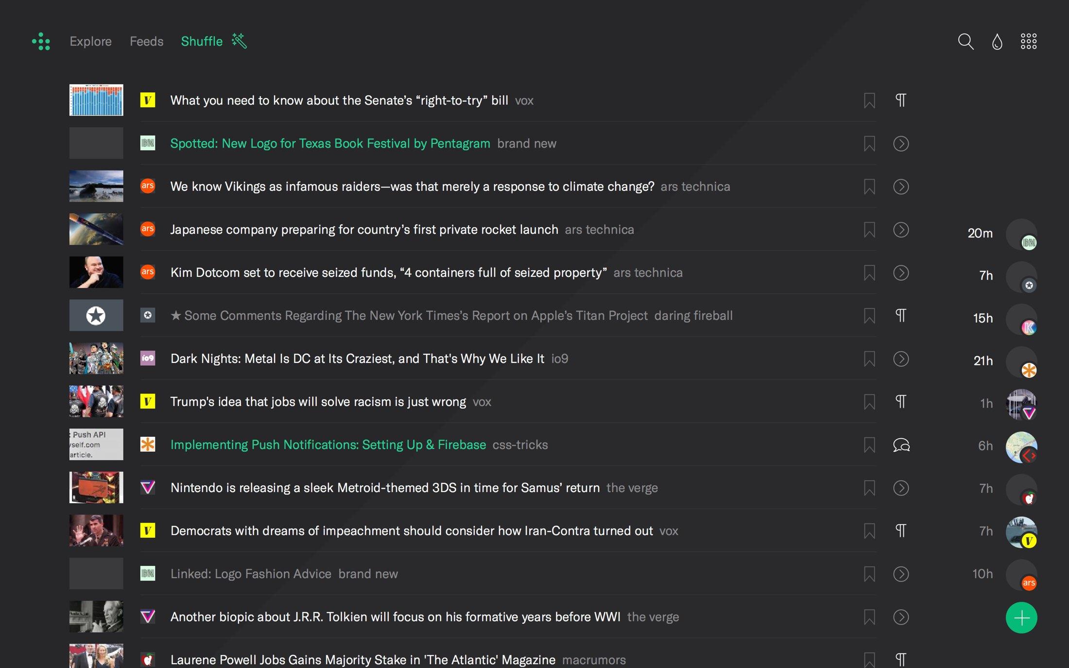 RSS reader index page in dark mode