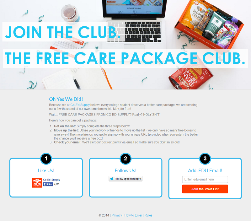Amazing college care packages, for free! - www_freecarepackages_com