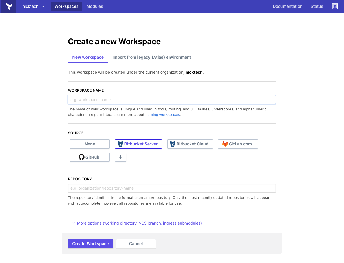 fields on new workspace page