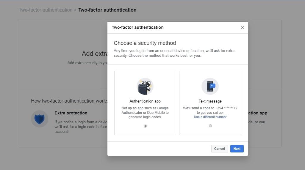 Choose a 2FA method for Facebook