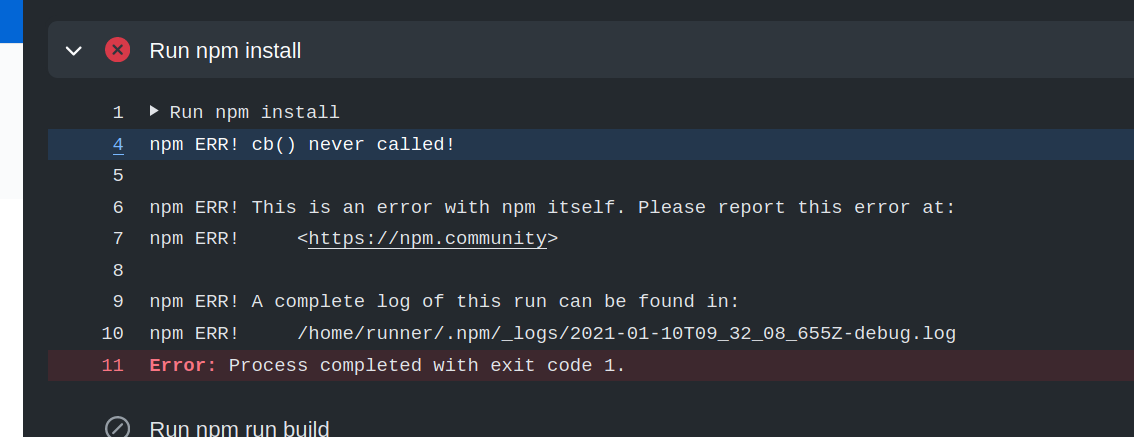 npm ERR! cb() never called!