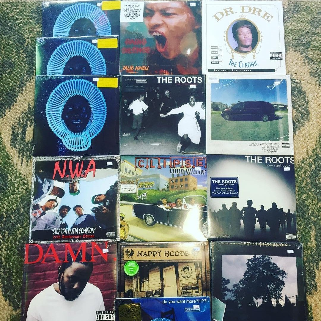 Collage of records. Dr. Dre, NWA, The Roots & more.