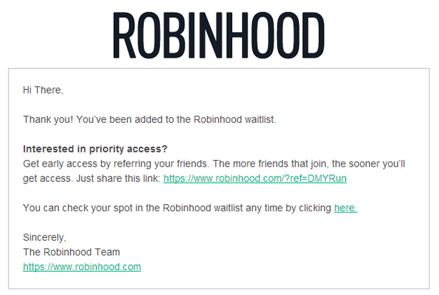 robinhood waiting list thank you email