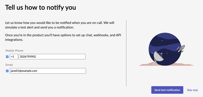 Enter your contact details where you want to get notification when you are on call.