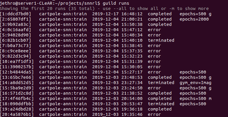 Figure 1: guild runs shows experiments I've run