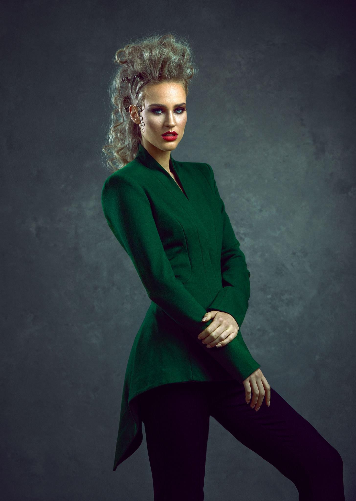 Women dress in green jacket