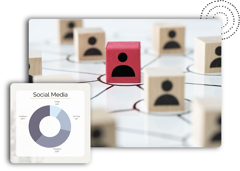 Network illustration with blocks and Social Media Graph