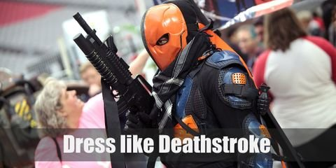 Deathstroke's signature outfit is a black bodysuit with orange armor parts and mask.