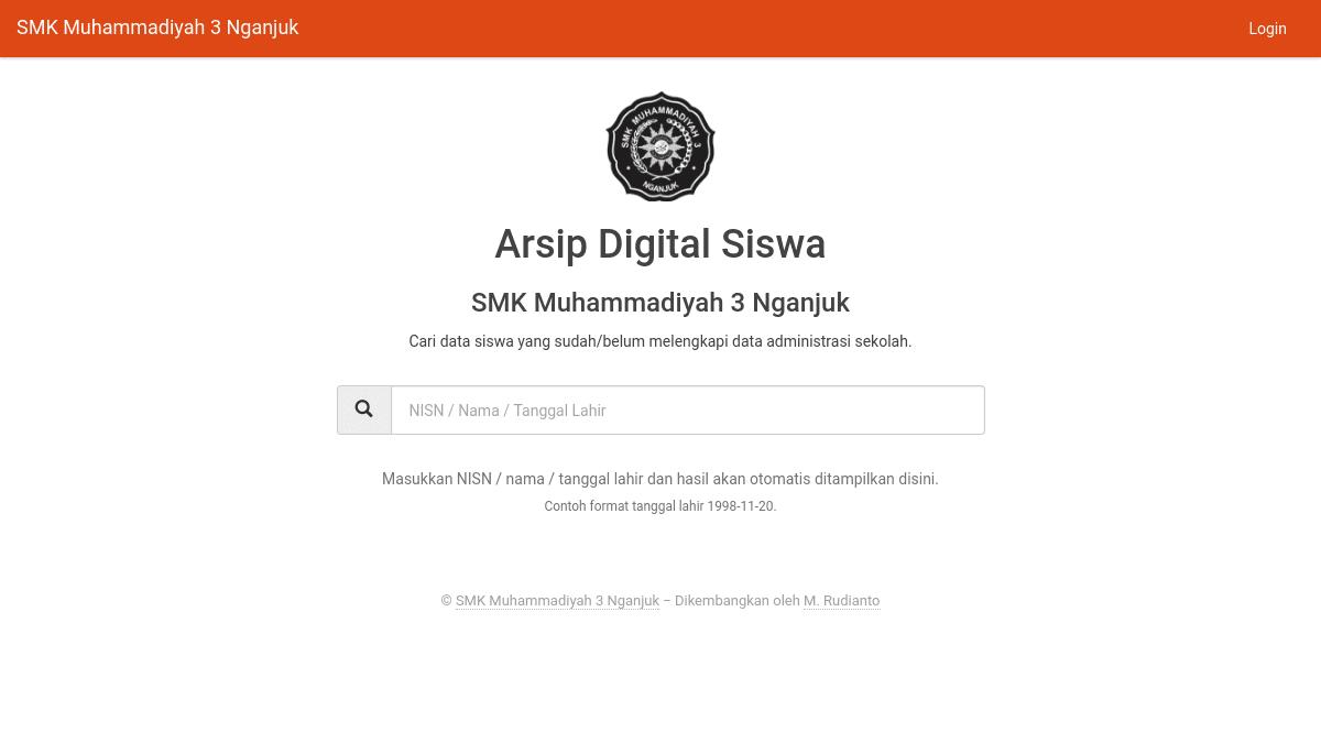Aplikasi arsip digital siswa CodeIgniter