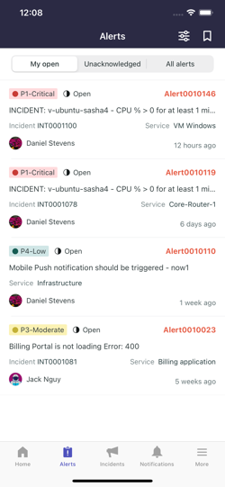 The Alerts page.