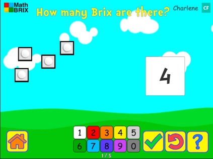 Count to 5 with objects (random arrangement, typing) Math Game