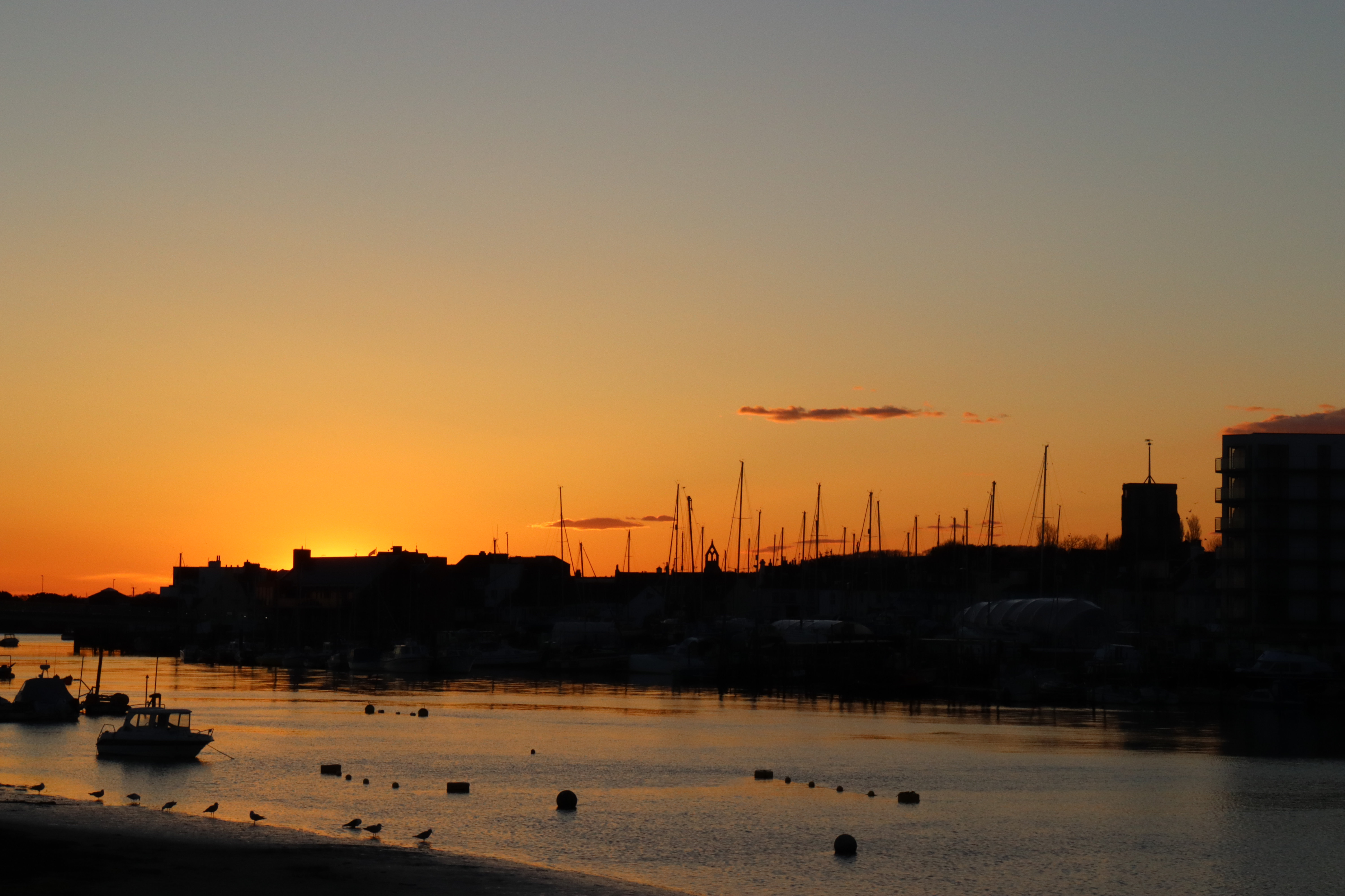 Sun setting behind the rooftops of Shoreham town. Silhouettes of small boats and birds line the river Adur below.
