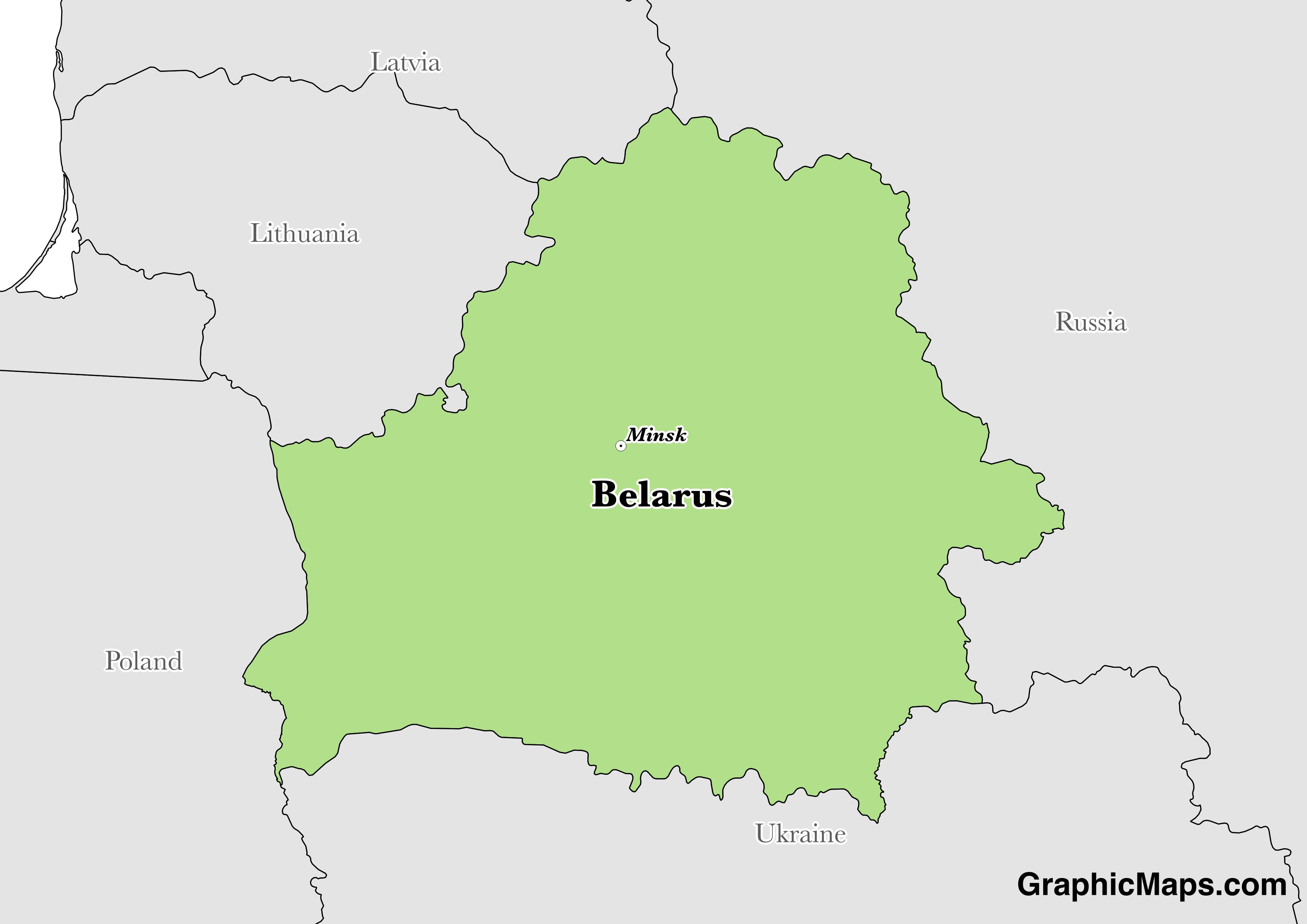 Map showing the location of Belarus