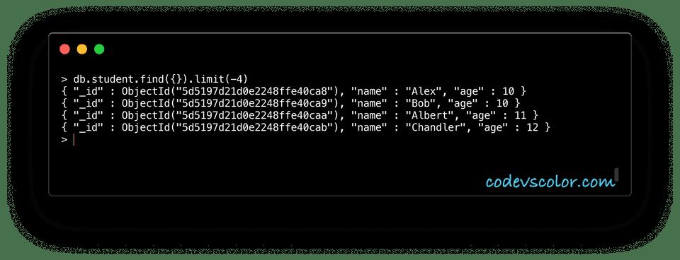 MongoDB limit example