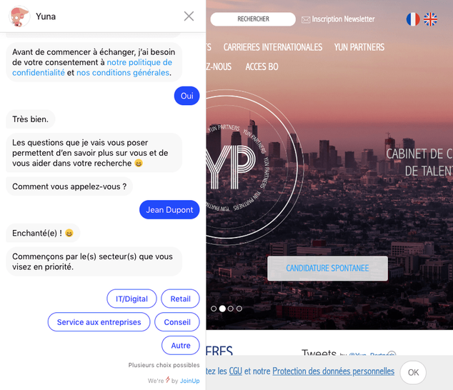 Yun Partners chatbot welcome message