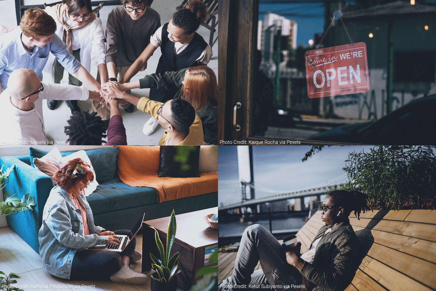 a collage of photos - eight people of different ethnicities stacking their hands in the center of a circle; a door to a business with a 'come in we're open' sign; a black man sitting on a bench outdoors listening to a podcast; a white woman sitting on the floor of her living room watching a virtual event via her laptop