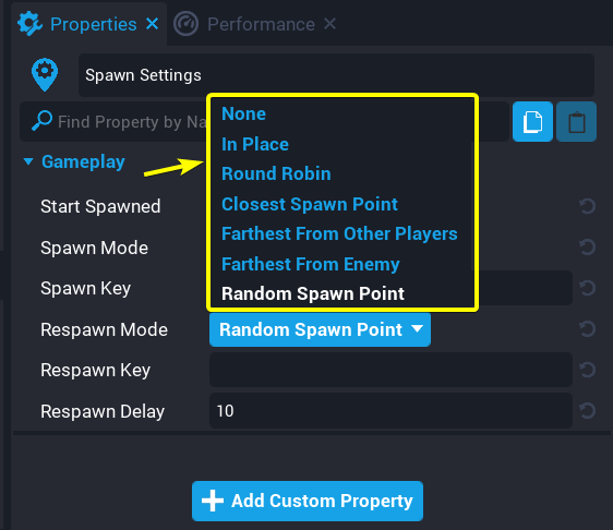 Spawn Mode Options