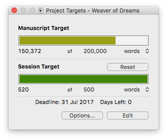 Day one starting word count