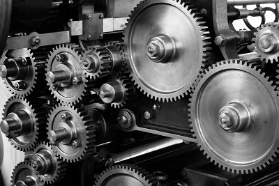 Gears of an automated factory machine