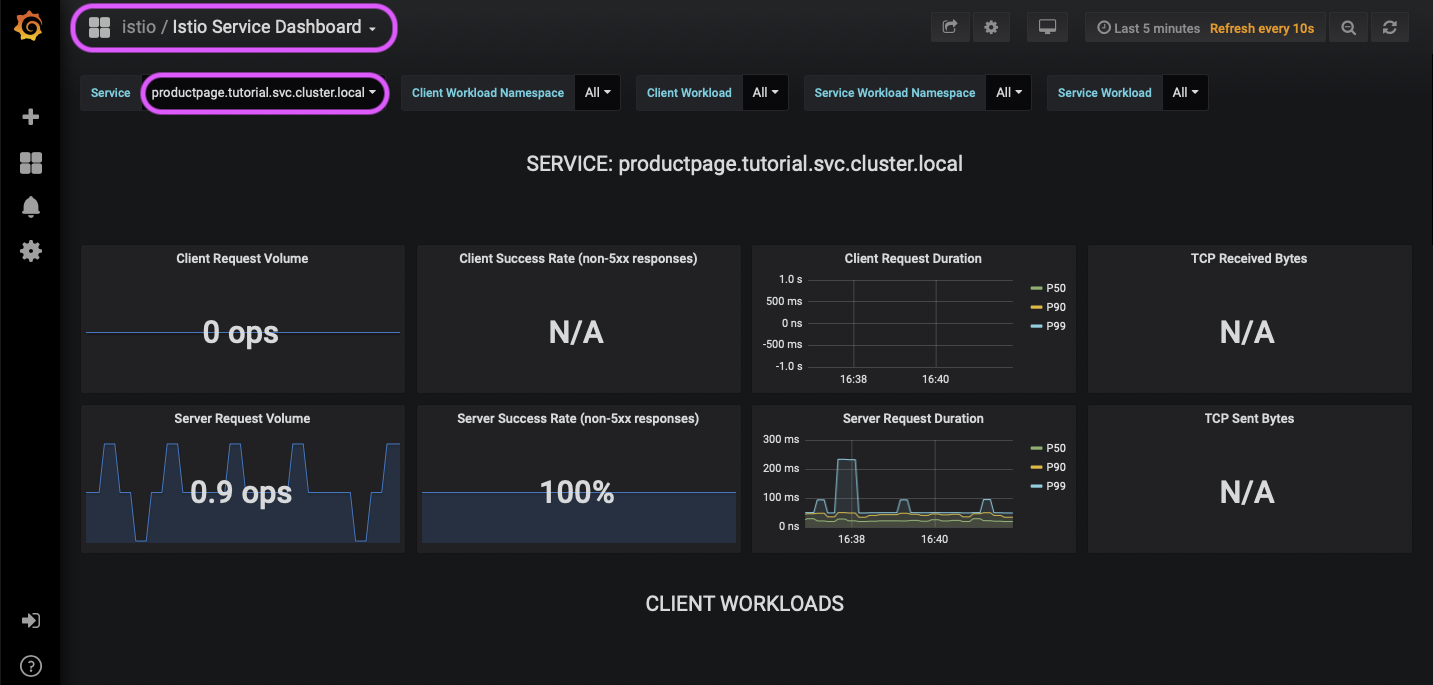 Istio Service Dashboard, `productpage` selected