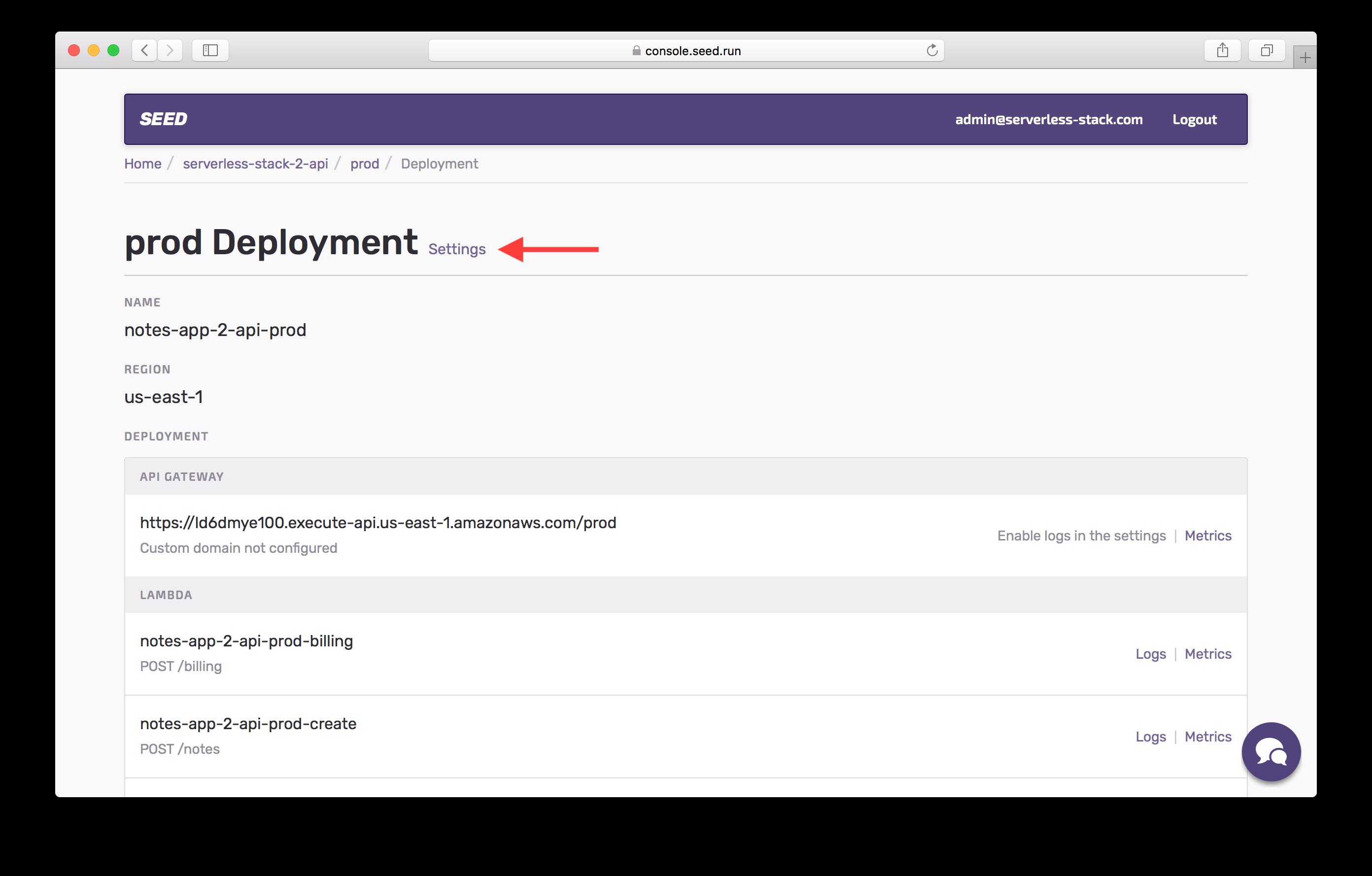 Prod stage deployment screenshot